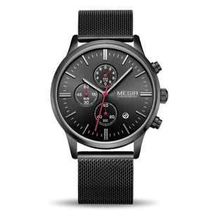 Front Image Black Color Veran Stainless Steel Quartz Watch in  white background