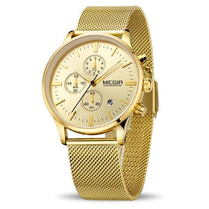 Front Image Gold Color Veran Stainless Steel Quartz Watch in  white background