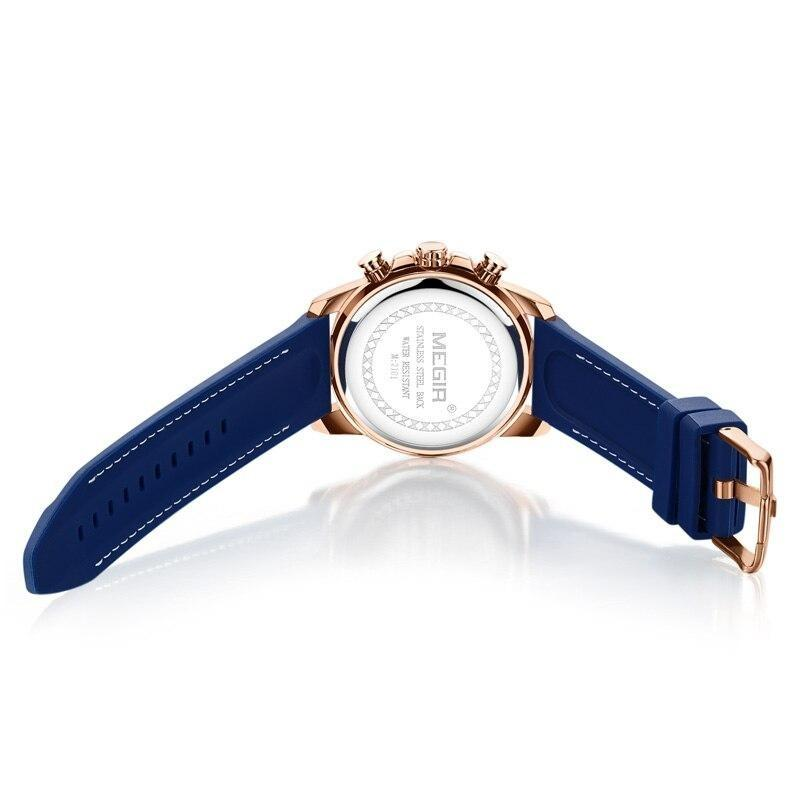 Back image blue color Mersel Silicone Fashion Watch in white background