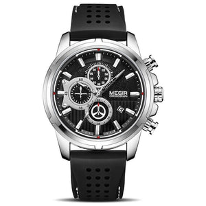 black and silver color Mersel Silicone Fashion Watch in white background