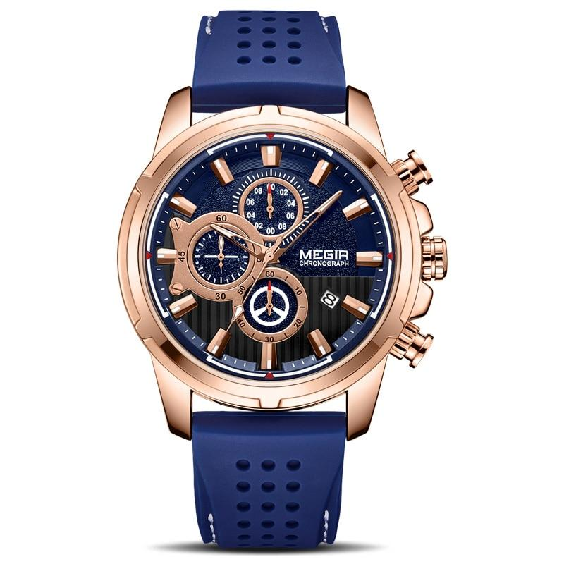 blue color Mersel Silicone Fashion Watch in white background