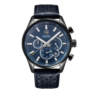 Front image Wilder Leather Chronograph Watch with blue dial in white background