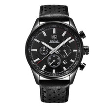 Load image into Gallery viewer, Front image Wilder Leather Chronograph Watch with black dial in white background