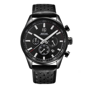 Front image Wilder Leather Chronograph Watch with black dial in white background