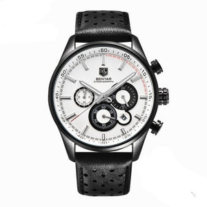 Front image Wilder Leather Chronograph Watch with white dial in white background
