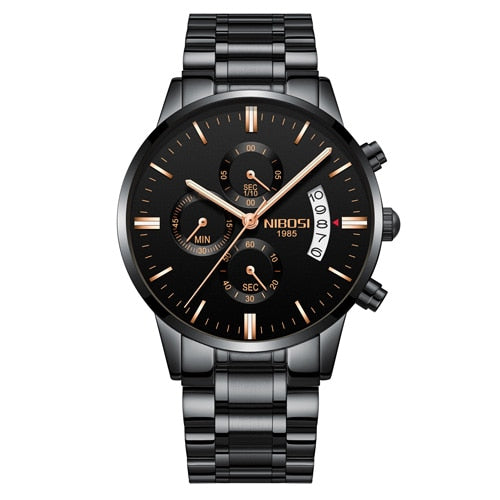 Brons Men's Chronograph Stainless Steel Watch - Black