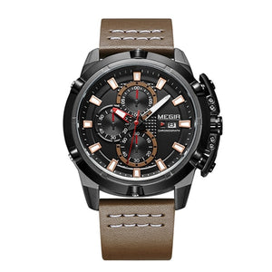 Front-facing image Delta Leather Chronograph Military Watch with brown markers in white background