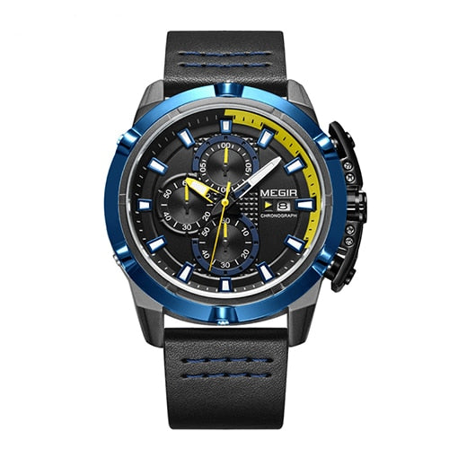 Front-facing image Delta Leather Chronograph Military Watch with blue markers in white background