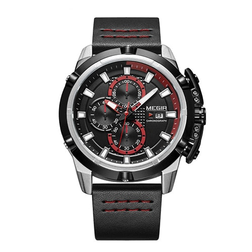 Front-facing image Delta Leather Chronograph Military Watch with red markers in white background
