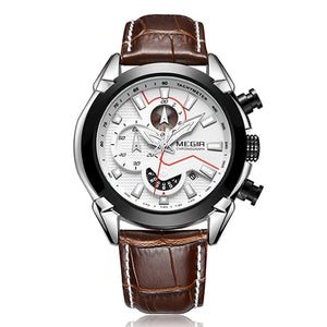 Insignia Leather Military Watch with black and silver case