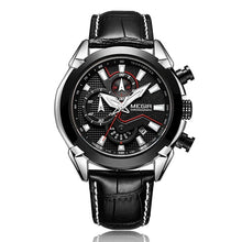 Load image into Gallery viewer, Insignia Leather Military Watch with silver and black case