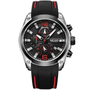 Front image Storm Military Sports Silicone Watch with black silicone strap in white background