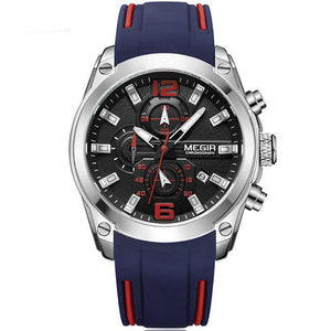 Front image Storm Military Sports Silicone Watch with blue silicone strap in white background