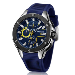 Front facing image of blue Capture Sports Silicone Wrist Watch in white background
