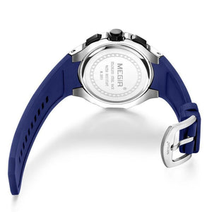 Back side of blue Capture Sports Silicone Wrist Watch in white background