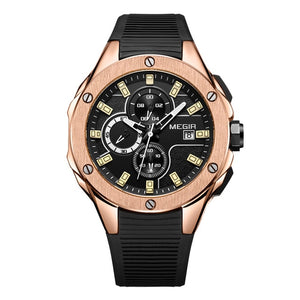 Capture Men's Military Fashion Waterproof Sport Watch - Black Rose Gold