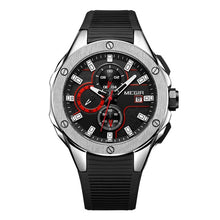 Load image into Gallery viewer, Front facing image of black and silver Capture Sports Silicone Wrist Watch in white background