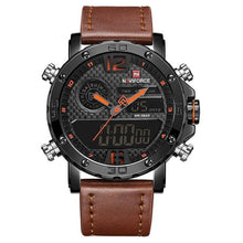 Load image into Gallery viewer, Front Image Marines Military Brown Leather Strap Watch in white background