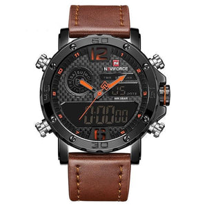 Front Image Marines Military Brown Leather Strap Watch in white background