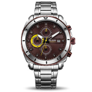 Front image Bigoza Stainless Steel Gents Watch with coffee dial in white background