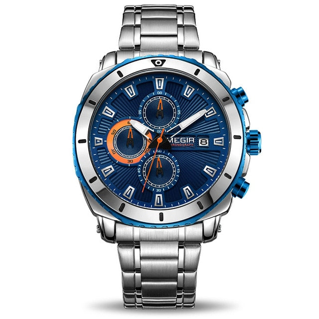 Front image Bigoza Stainless Steel Gents Watch with blue dial in white background