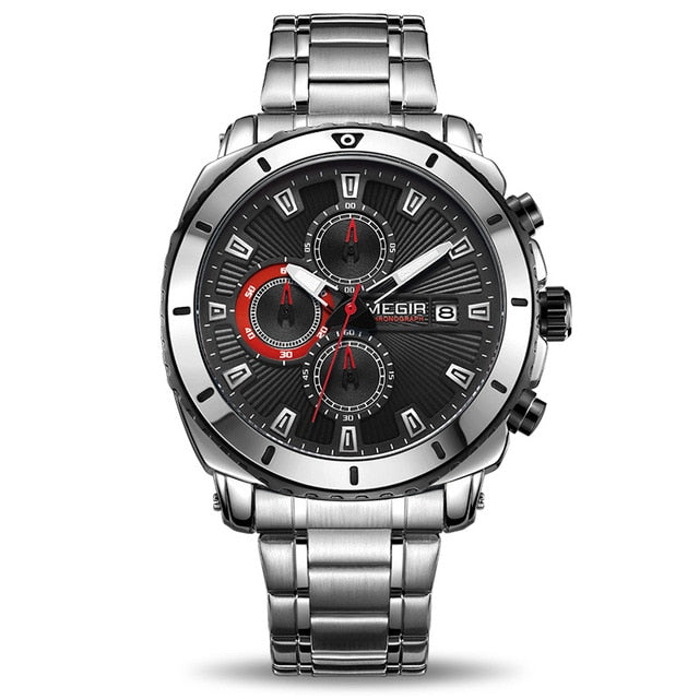 Front image Bigoza Stainless Steel Gents Watch with black dial in white background