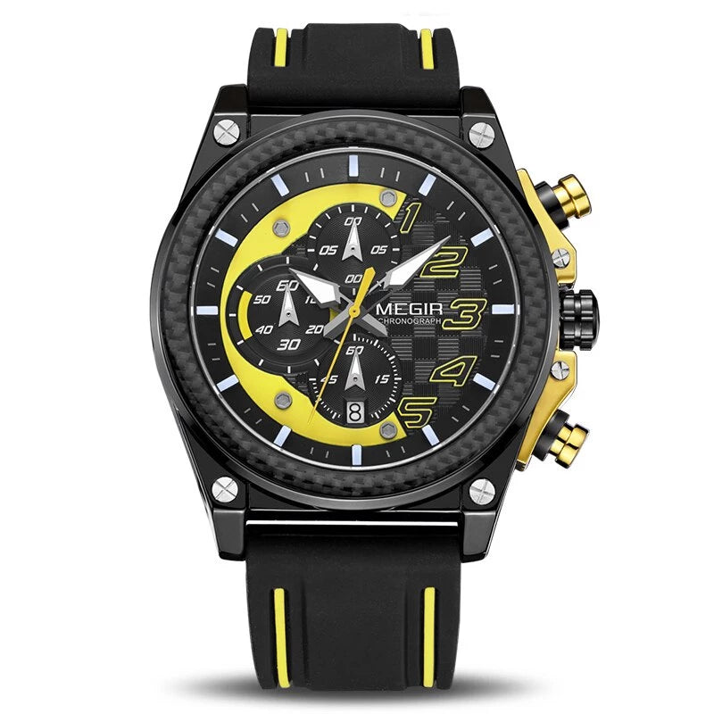 Front image Miler Men's Chronograph Quartz Watch with yellow markers in white background