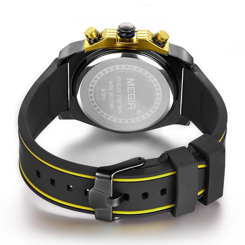 Back image Miler Men's Chronograph Quartz Watch with yellow markers in white background