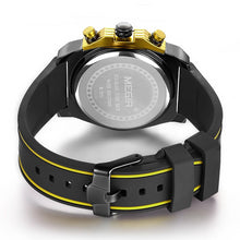 Load image into Gallery viewer, Back image Miler Men's Chronograph Quartz Watch with yellow markers in white background