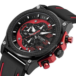 Front image Miler Men's Chronograph Quartz Watch with red markers in white background