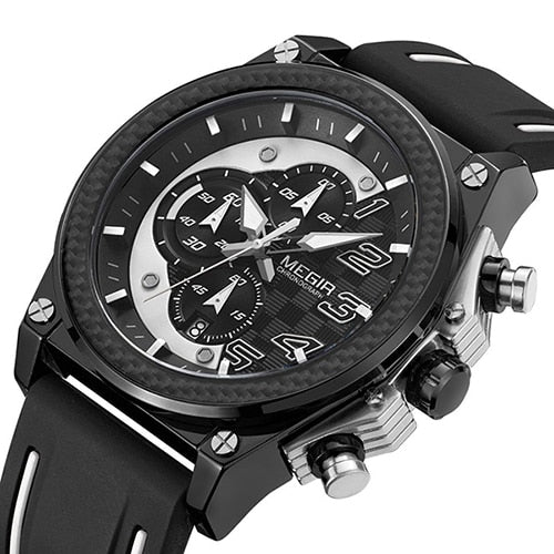 Front image Miler Men's Chronograph Quartz Watch with white markers in white background