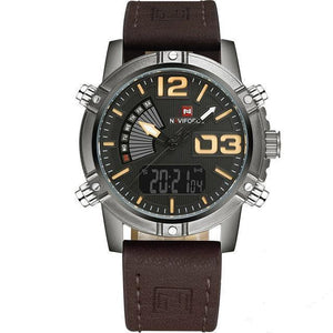 Front image Reserves Military Analog-Digital Watch with brown leather strap in white background