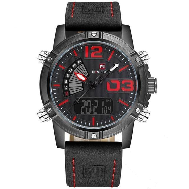 Front image Reserves Military Analog-Digital Watch with red markers in white background