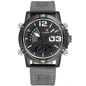 Front image Reserves Military Analog-Digital Watch with gray markers in white background