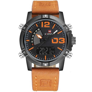 Front image Reserves Military Analog-Digital Watch with orange markers in white background