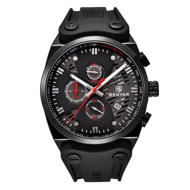 Arsenal Men's Military Black Silicone Watch