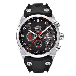 Arsenal Men's Military Black Silicone Watch - Silver Case