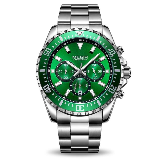 Front Image Barsel Chronograph Gents Watch with green dial in white background