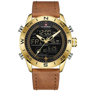 Front-facing image Compass Military Analog Digital Watch in white background