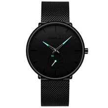 Load image into Gallery viewer, Finiera Black Steel Mesh Watch - Blue