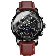 Load image into Gallery viewer, Front image Rosewood Vintage Mechanical Watch with black case in white background