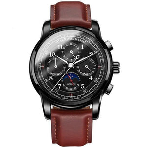 Front image Rosewood Automatic Vintage Watch with black case in white background