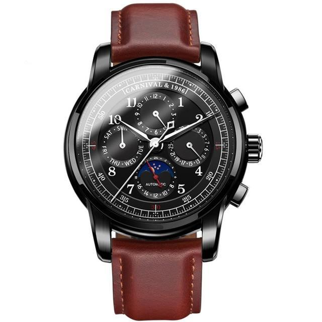 Front image Rosewood Vintage Mechanical Watch with black case in white background