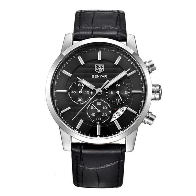 Benton Vintage Quartz Chronograph Watch - Silver Black