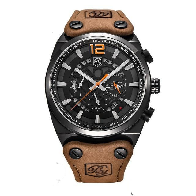 Aircraft Men's Military Chronograph Brown Leather Watch - Black Case