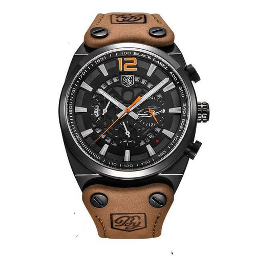 AIRCRAFT MILITARY BROWN LEATHER BAND WATCH