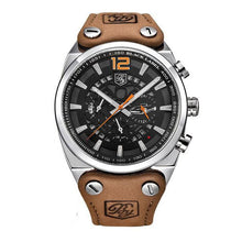 Load image into Gallery viewer, Aircraft Men's Military Chronograph Brown Leather Watch - Silver Case