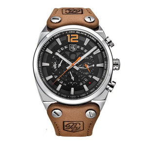 Aircraft Men's Military Chronograph Brown Leather Watch - Silver Case