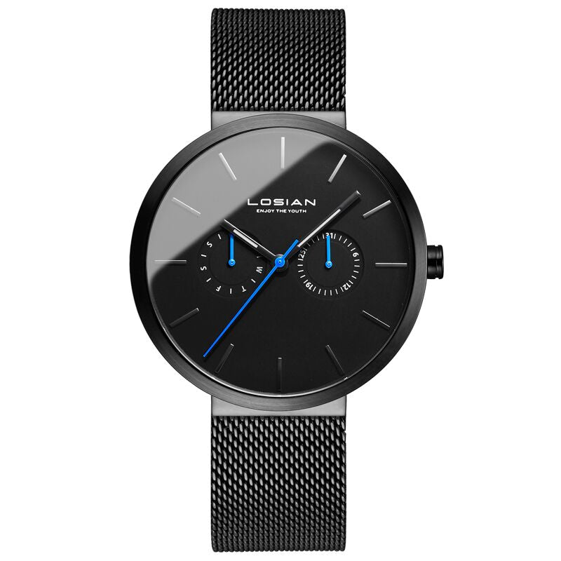 Bluer Black Stainless Steel Watch