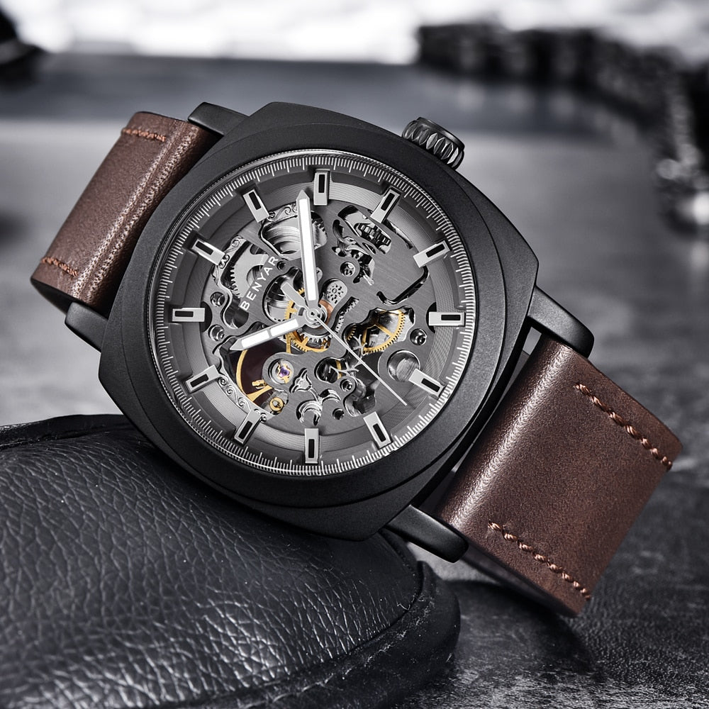Front image black-brown Venal Skeleton Mechanical Watch in gray background